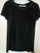 Zara Black Shirt for Women With Pearls and A Black Bow Size M