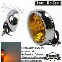 "Chrome Front Light 4.5"" Headlight Head Lamp For Harley Chopper Bobber Cafe Racer"