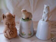 3 PIG COLLECTIBLES-2 BELLS, 1 PORKY PIG  FIGURINE GUC!!