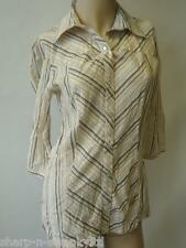 BNWT NEW Ladies Beige Striped 3/4 Sleeved Cotton Short Blouse Top UK 8 EU 36