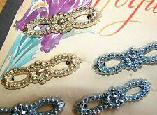Vintage Barrettes - 1940's Josephine Vogue Metalic Color Flower Bow Barrettes