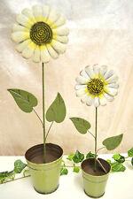 Metall Blume  Dekoblume  creme grün 40 cm Metallblume