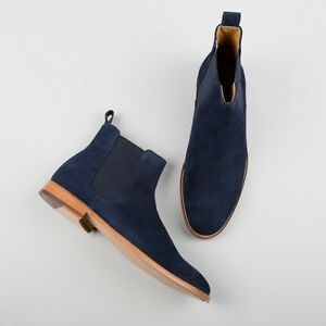 Handmade men navy blue boots, suede leather boot for men, chelsea dress boots