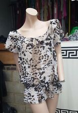Lovely Ladies Internacionale UK 14 Leopard  Animal Print Sheer Blouse Top Tunic