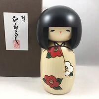 "Usaburo Japanese Kokeshi Wooden Doll 5""H Hana Tsubaki Kimono Girl Made in Japan"