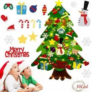 Kids DIY Felt Christmas Tree Ornaments Xmas Gifts Wall Hanging Decor 3mLED Light