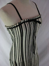 Size 12 FLYNOW Black & Cream Couture Cocktail Dress with fitted bodice