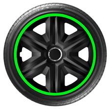 14 Inch Wheel Trim Set Gloss Black Set of 4 Univers Hub Caps Covers [LUX Green]