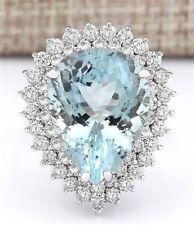 925 Sterling Silver Teardrop Sapphire Morganite Crystal Rings Princess Jewellery