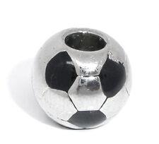 Soccer Ball Black Team Sports Spacer Bead for Silver European Charm Bracelets