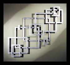Abstract Stainless Steel Wall Sculpture Art Metal Decor Laser Cut Squares Silver