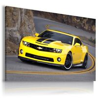 CHEVROLET CAMARO YELLOW Cars Large Wall Art Canvas Picture AU154 MATAGA .