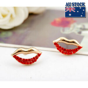 925 Sterling Silver Lady's Red Crystal Sexy Lip Stud Earrings Jewelry Gift