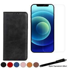 Etui portefeuille magnétique pour iPhone 12 Mini Housse + Verre trempé 2.5D