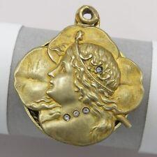 Vtg Antique Art Nouveau Gold Filled GF Lady Clover Paste Slide Locket Pendant
