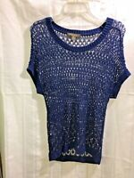 Tommy Bahama Blue Women's Size: S/P Linen Blend Cap Sleeve Open Knitted Sweater