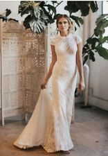 Dreamers & Lovers Boho Rustic Floral Lace Eco Wedding Dress Size 6 - 8 RRP $1780