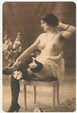 French nude woman Naked sitting on a chair real photo postcard REPRINT COPY
