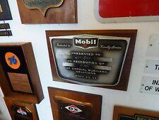 Vintage Mobil Gas Oil Service FIlling Station Service Award Plaque H.F. Luinstra