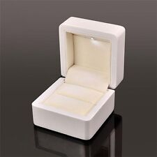 Luxury high gloss white Wooden Ring Display Box with LED for Wedding Engagement