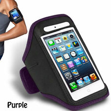 Purple iPhone 4 4S Sports Strong ArmBand Padded Soft Cover With Earphone Pocket