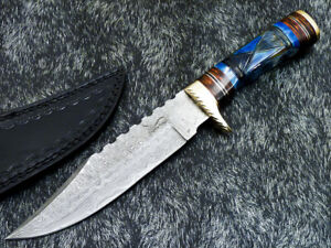 """Authentic HAND FORGED DAMASCUS 12.0"""" HUNTING KNIFE - ENGRAVING BONE - WD-5232"""