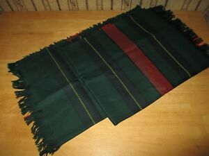 EUC green / red plaid MADE IN IRELAND / J HANLEY pure new wool scarf - NICE!!