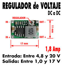 Micro Regulador de DC a DC. Entrada: 4,8-20 V. Salida: 1-17 V. 1,8 Amp. Nuevo !!