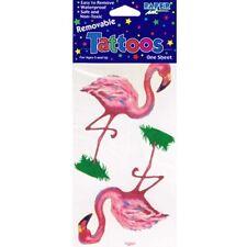 HAWAIIAN LUAU Flamingo JUMBO TEMPORARY TATTOOS ~ Birthday Party Supplies Favor