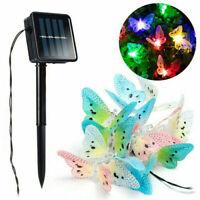 Solar Powered 12/20 LED Butterfly Fairy String Lights Lamp Outdoor Garden Bulb