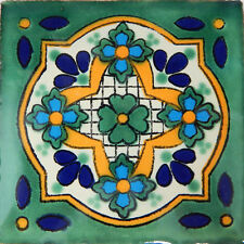 "Handmade Mexican Tile Sample  Talavera Clay 4"" x 4"" Tile C248"
