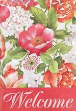 "Welcome Pink Flowers Spring Summer Yard Garden Flag 12.5"" X 18"""