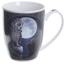 PURRFECT WISDOM  MUG BY LISA PARKER BLACK CAT OWL GOTHIC WICCA PAGAN
