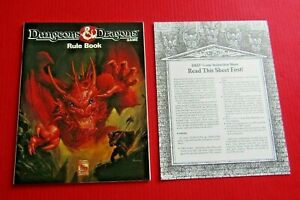 Dungeons & Dragons D&D 1991 TSR Game Softback Rule Book & Instruction Sheet