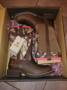 New Women's 6.5 Ariat Fatbaby All Weather Waterproof Work Ride Boots Brown Camo