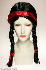 Native American Wig Black Braided Synthetic Hair Pigtail Costume Character Wig