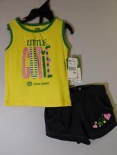 New Girl's 2 Pc JOHN DEERE Yellow & Denim Blue LITTLE CUTIE Shorts & Top, 9 Moss