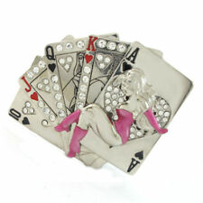 ACE HIGH SEXY LADY PIN-UP BELT BUCKLE CARDS POKER GAMBLER LUCKY FIT SNAP BELT