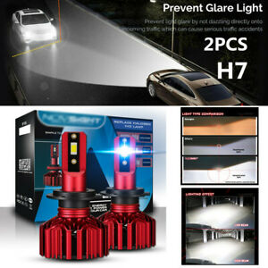 2PC H7 LED Car SUV Headlight Super Bright Bulbs 10000LM White 6000K Built-in fan