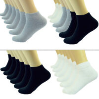 Plain Solid Ankle/Quarter Low Cut Crew Men Cotton Cushioned Sports Socks 9-13