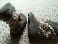 CROCS Sz W 7  Womens Brown Suede Leather Sweater Faux Fur Mid Calf Winter Boots