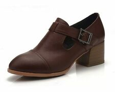 Leather Solid Med (1 in. to 2 3/4 in.) Women's Heels