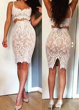 Ladies Lace Spaghetti Strap Crop Top and Sheath Skirt, Delivery In About 4 Day.