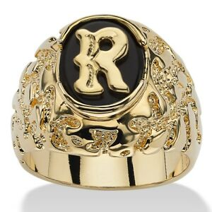 14K GOLD ONYX LETTER R INITIAL NUGGET RING SIZE GP 8 9 10 11 12 13