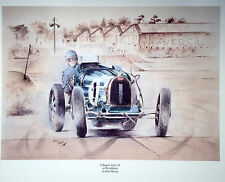 MR9 E Bugatti Type 51 Brooklands Beautiful Motoring Classic Car Print Poster