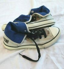 Converse All Star Kids Girls Boys Gray Shoes Size 3 Hi top Roll Navy blue inside