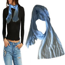 Foulard donna uomo azzurro sciarpa leggera scialle tinta unita lungo estivo