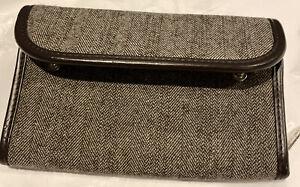 Thirty One Brown Wallet Purse Clutch Snap Zip Around Knit Tweed
