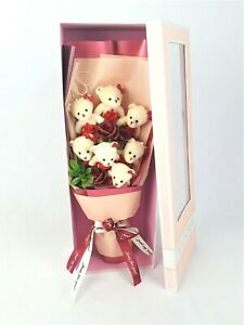 Anniversary / Birthday Flower Bouquet Novelty Bear Pink Gift Box Red Silk Roses
