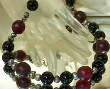 Genuine Peacock Pearl Cranberry Art Glass Vintage 80's Necklace Weighty 258n6